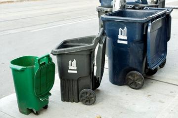 Green, grey, blue bins