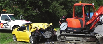 Car rips out tree and rams into construction equipment– Image 1