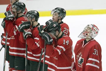 Team Canada (left to right) Josh Morrissey, Nic Petan, Josh Anderson, Taylor Leier, and Zachery Fucale react after their 5-1 loss to Finland in semi-final at the IIHF World Junior Hockey Championships in Malmo, Sweden on Saturday.