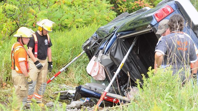 This vehicle rolled into the ditch around 4 p.m. Thursday afternoon.