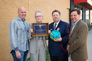 Edith Sorensen (second from left), one of the original founders of the Oakville Soccer Club, was recently recognized by the club for retiring after 41 years of service. Sorensen, 80, spent many of those years serving in various volunteer roles before becoming a club employee in 1998. She was presented with a plaque and the community room at the club's Pine Glen facility was renamed the Sorensen Community Room in her honour. Pictured with Sorensen are OSC director Chris Wight (left), executive director Dave Harris (second from right) and vice-president Vince D'Amico.