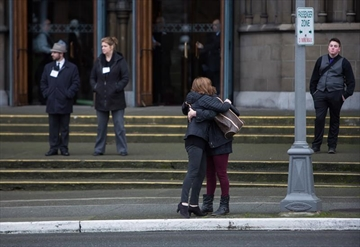 Friends and family arrive at the funeral of Chloe and Aubrey Berry at Christ Church Cathedral in Victoria, B.C., on Friday January 12, 2018. THE CANADIAN PRESS/Ben Nelms