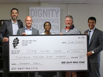 100 Guys Who Care Oakville donates more than $13K to Home Suite Hope