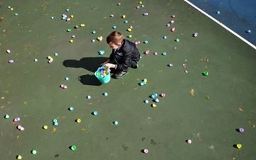 Jacob Larkey collects eggs during the annual King Township Easter Egg Hunt in Pottageville Park Saturday. (Nick Iwanyshyn/York Region Media Group)