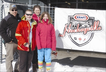 The push to have Prescott named the best hockey town in Canada as part of the ongoing nationwide Kraft Hockeyville contest continued last Sunday in Prescott, where a large number of supporters, including (from left) Clare, Max, Kim and LeAnne Kinlin, took part in an 'Amazing Race' around the Fort Town to help boost the campaign.