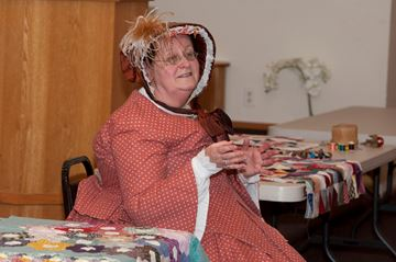 Pauline Grondin, a professional storyteller and historical interpreter, made a presentation to a meeting of the Brampton Historical Society about