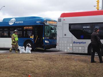 Buses collide
