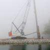 Frenchman's Bay restoration piling rig