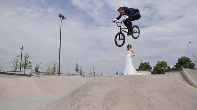 Wedding day couple took the leap — at a Burlington skatepark
