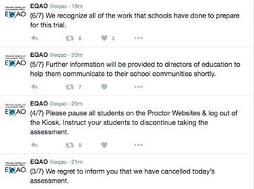 EQAO cancels online testing