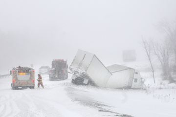 NORTHUMBERLAND -- Emergency crews responded to many accidents on Hwy. 401 on March 12 including this truck off the westbound lanes of Hwy. 401 west of Brighton.