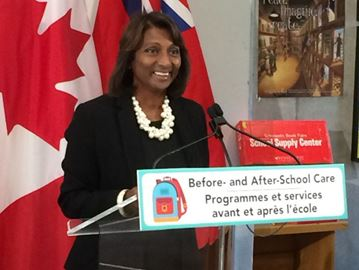 Early Years Minister Indira Naidoo-Harris at Our Lady of Lourdes elementary school in downtown Toronto on Sept. 21, 2017. Naidoo-Harris announced that more than 80 per cent of schools in the province now offer before- and after- school care.