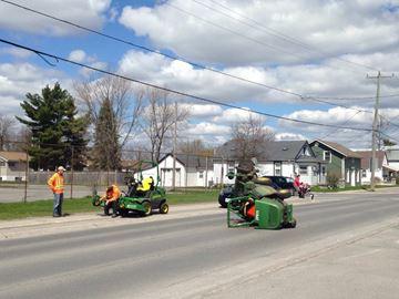 Riding lawn mower hit