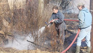 Grass fire calls up