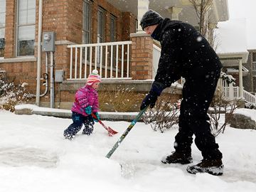 Milton residents cleared their driveways and sidewalks of the roughly 8cm of snow that fell overnight and this morning, with more snow predicted to fall overnight into Sunday. The younger residents of Milton took advantage of the fresh snow, and had some fun as well.