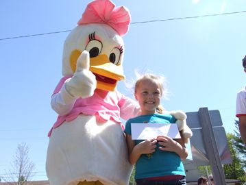 Shae Lynn Thompson won first prize in the Stayner Kinsmen Club's Duck Race on Saturday.