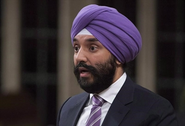 Innovation, Science and Economic Development Minister Navdeep Bains rises in the House of Commons in Ottawa on Friday, October 20, 2017. The federal government unveiled new measures on intellectual property Thursday as it seeks to improve Canada's performance in a critical area of the increasingly important ideas-based economy.THE CANADIAN PRESS/Adrian Wyld