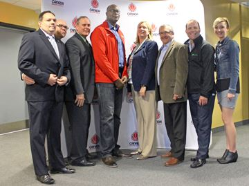 From(L-R): Bram Cotton, CEO of Niagara Sports Commission Brian York, Director of Economic Development and Government Relations Henry D'Angela, Chair of Niagara Sports Commission Michael Meeks, Manager of Youth Player Development (Men) Michelle O'Keefe, President and CEO of Canada Basketball Bill Phillips, City Coucillor St. Catharines Walter Sendzik, Mayor of St. Catharines and Jennifer Douglas, Business Development & Sport Supervisor, City of St. Catharines YusufTurabi/NiagarathisWeek