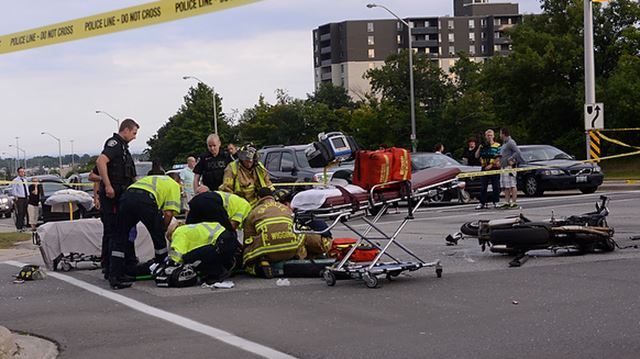 Motorcycle crash closes Trafalgar