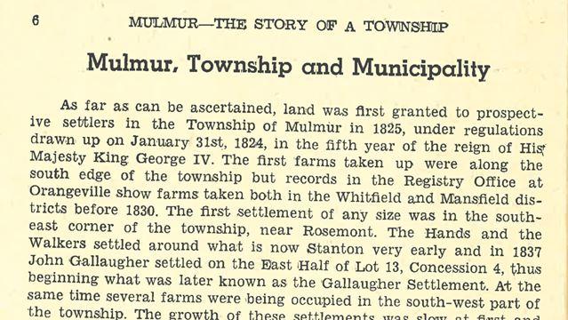 Mulmur history