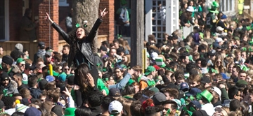 A large crowd gathered for the Ezra Street Patrick's Day party in Waterloo.