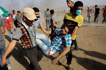 Palestinian medics and protesters evacuate a wounded youth near the Gaza Strip's border with Israel, during a protest east of Khan Younis, in the Gaza Strip, Friday, June 8, 2018. About 300 university academics from around the country have signed an open letter calling on Prime Minister Justin Trudeau to keep his word and ensure there is an independent investigation into the Israeli army's use of force against Palestinians in Gaza. THE CANADIAN PRESS/AP-Adel Hana