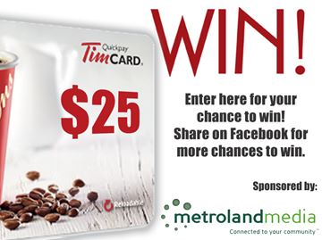 Enter for a chance to win a $25 Tim Hortons gift card