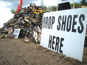 After completing the 16 kilometre Tough Mudder course, participants were invited to donate their shoes, which are cleaned up and donated to charity.