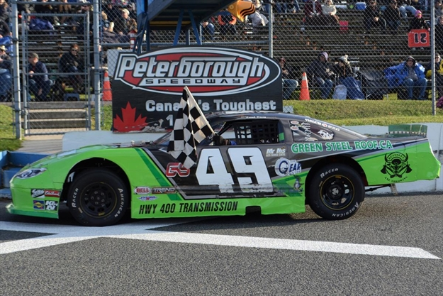 Busy winner's circle at Peterborough Speedway