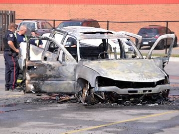 Pick-up truck destroyed in afternoon blaze in Milton