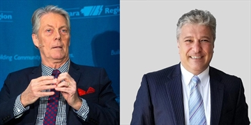 A composite photo of incumbent mayor Fred Eisenberger, left, and challenger Vito Sgro.