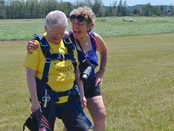 Innisfil woman, 75, skydives to help Barrie girl, 3, battling cancer