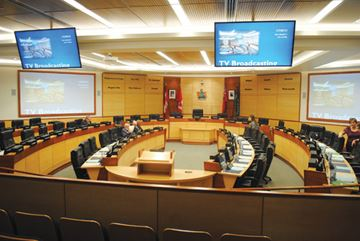 The renovated regional council chamber is shown before its official opening Thursday evening.