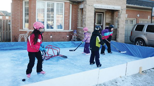 Skating rink in the front yard in Ajax