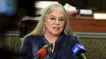Six Nations Chief Ava Hall addresses the media about Friday's fatal fire.