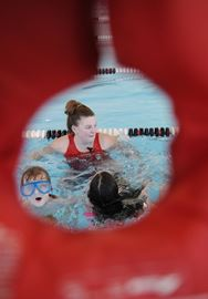 Melissa McGrath, instructor/lifeguard at the YMCA, teaches Grade 3 Roger Neilson Public School students drowning prevention techniques. The students were participating in the Swim To Survive program on Thursday (April 10).Lance Anderson | This Week