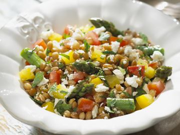 Lentil salad with asparagus and feta a healthy side dish