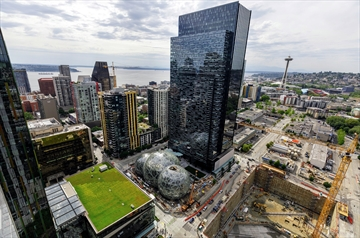 The Amazon headquarters in Seattle is shown from the air. The online giant is looking at building a second headquarters that could eventually employ 50,000 people.
