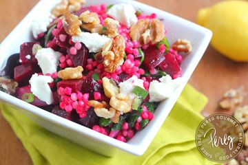 ... jeweled rice and Israeli Couscous Salad with Beets, Goat Cheese