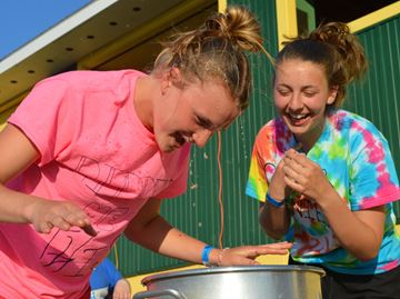Bobbing for apples at Relay for Life