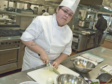 John Paul II Catholic Secondary School student Brittany Bayliss prepares Mulligatawny soup during the Ontario Technological Skills Competition qualifier held at Fanshawe College on Saturday (April 12).