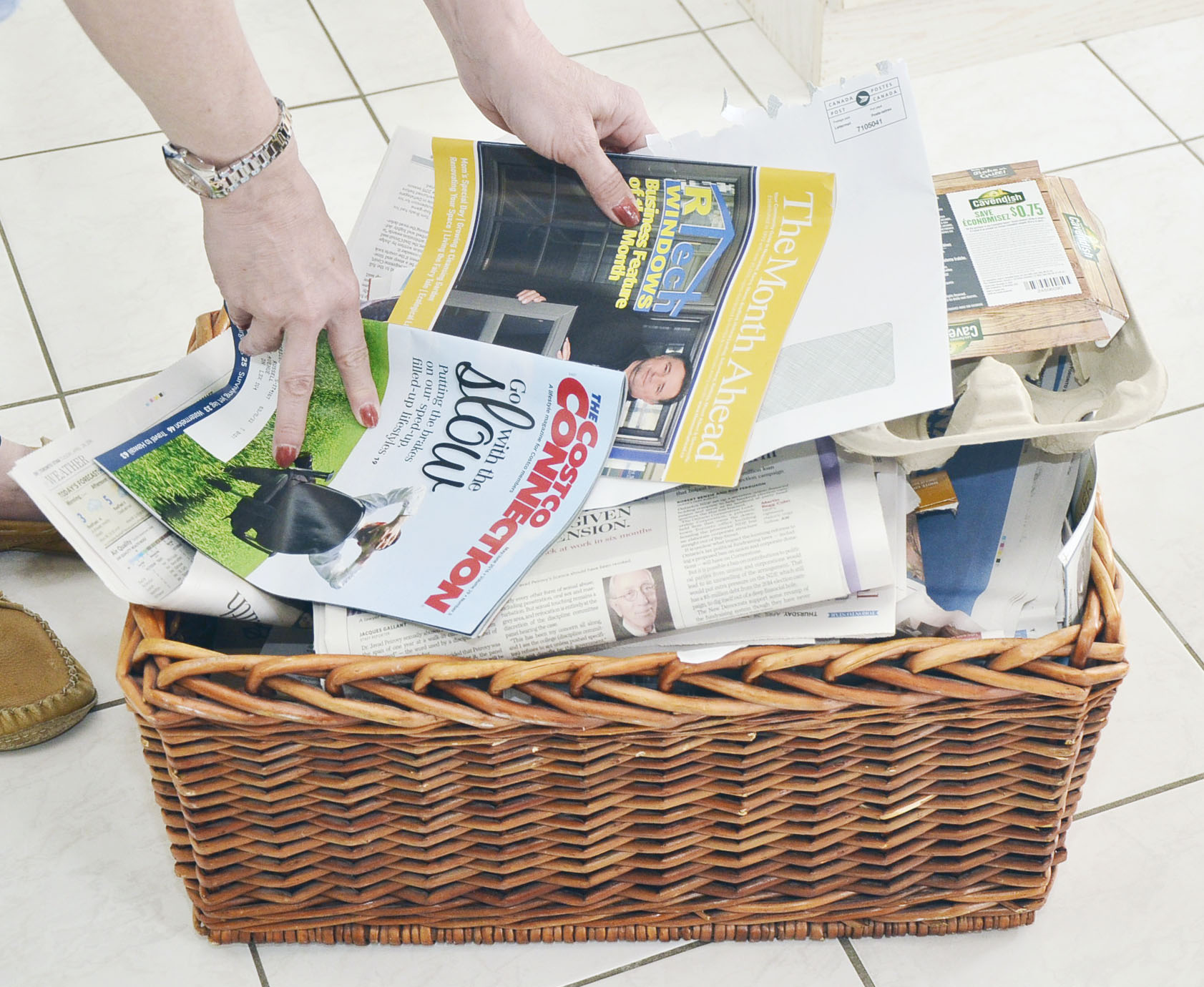 Keep recyclables in a basket
