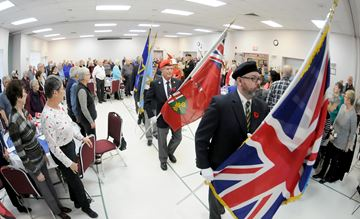 To honour the courage and sacrifices of those who have served Canada during times of war and conflict, the Bowmanville Older Adult Association held a Remembrance Service on Tuesday, Nov. 6. The colour party marched into the hall for the start of the service.