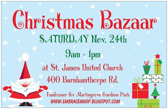 Please Come To The Embrace Christmas Bazaar On November 24