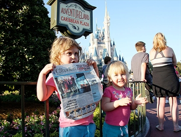 Our daughters Amelia Hamill (age 4) ,left, and Brynn  (age 1) at Disney holding the Champion.