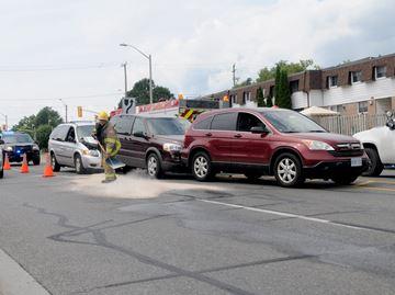 Three-car collision