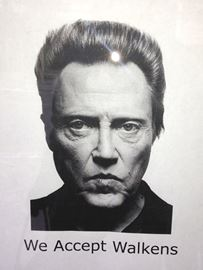 The Barbeside Salon on Hunter Street has this poster with a photo of Christopher Walken hanging in a window. It makes passers-by do a double-take when they see it.