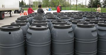 Volunteers from Greening Nipissing sold and distributed 227 rain barrels in May last year.