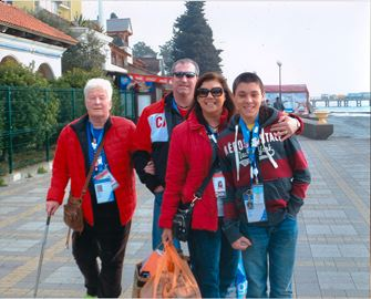The family of figure skater Gabby Daleman, 16, was in Sochi to cheer her on. From left, grandmother Ann, dad Michael, mom Rhonda and brother Zack. Not shown, grandpa Theo. The Olympic flame. Gabby Daleman warming up in Sochi with Tessa Virtue in the background.The view from the Daleman's hotel room.