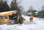 Train and school bus crash
